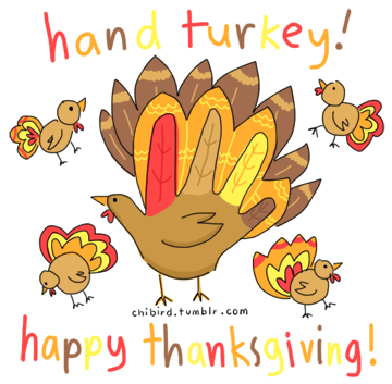 hand turkies! :D It's very easy to make them- just trace your hand, add turkey features, and color! click here for other thanksgiving doodles!
