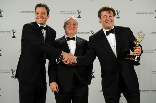 Jimmy Fallon, Lorne Michaels and Alec Baldwin in the International Emmys press room with Michaels' Lifetime Achievement award. I am just obsessed with this photo. Jimmy looks so boyish, amirite?
