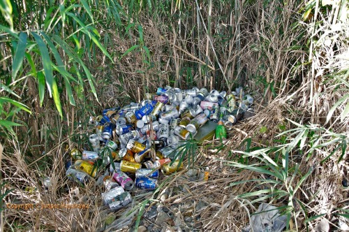 A large pile of drink cans dumped right beside the Sagami River which leads to the Pacific Ocean.  And you thought the Japanese cared about nature didn't you.
