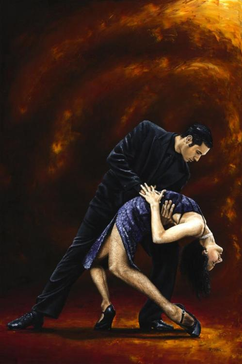 Lost in Tango - Original oil painting produced on stretched 91cm x 61cm canvas using a knife, mixing only on the canvas using a limited colour palette. There's many more figurative, dance and portrait fine art original oil paintings, pastels and gicleé prints on my website: www.ryoung-art.com