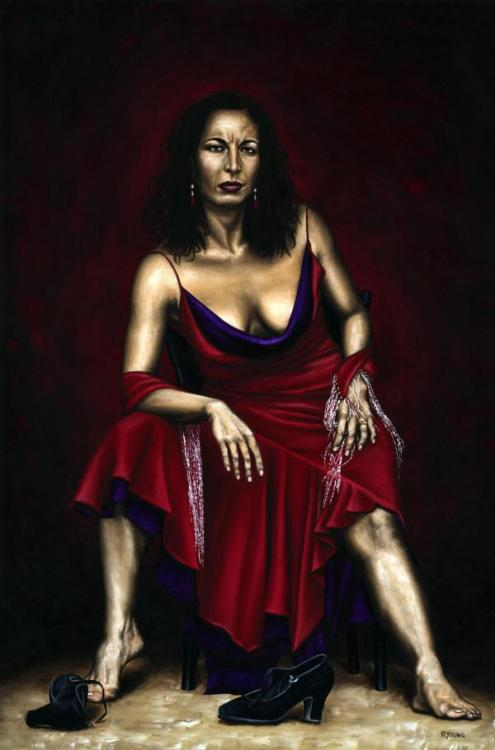 Portrait of a Dancer - Original oil painting produced on stretched 91cm x 61cm canvas using a knife, mixing only on the canvas using a limited colour palette. There's many more figurative, dance and portrait fine art original oil paintings, pastels and gicleé prints on my website: www.ryoung-art.com