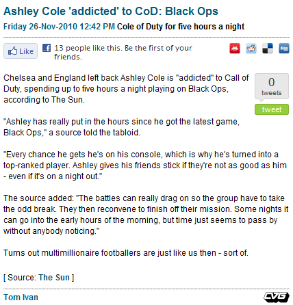 CVG: Ashley Cole 'addicted' to CoD: Black Ops [November 26th, 2010] Addicted, you say? Well, that's definitely something to talphngfzzzzzzzzzzzzzzzzzz