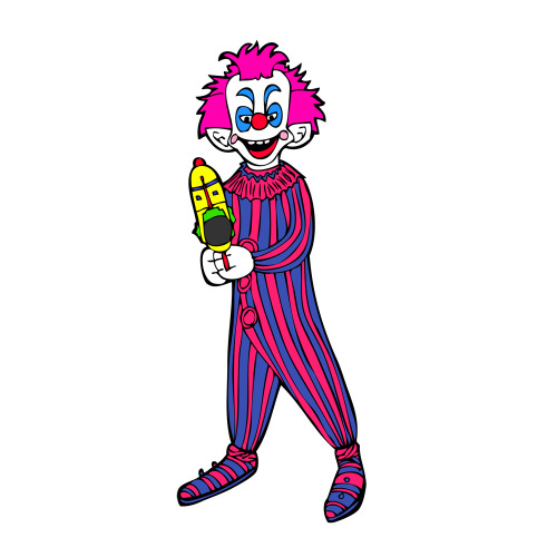 Anatomy of a Killer Klown Post #3 While still in Adobe Illustrator, I select the picture and choose Live Paint, then with the Live Paint bucket I start to choose my colors and fill in the Klown.