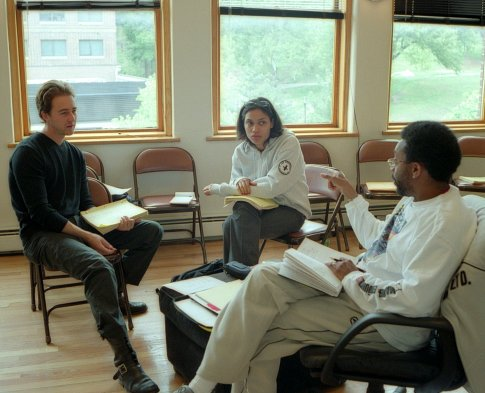 fuckyeahdirectors:  Spike Lee with Edward Norton and Rosario Dawson (25th Hour, 2002)