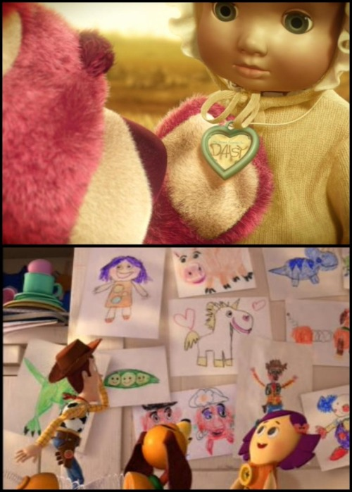 Director Lee Unkrich's son Max drew Daisy's name on Big Baby's pendent, as well as Bonnie's name on her backpack. His other children drew the pictures shown in Bonnie's room.