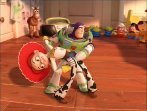"The song that Jessie and Buzz salsa dance to is a Spanish version of ""You've Got A Friend In Me"".  Jessie and Buzz's dance scene during the end credits was choreographed by Cheryl Burke and Driton 'Tony' Dovolani, both known for appearing in the American version of ""Dancing with the Stars"" (2005/I)."
