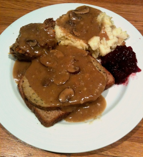 Robyn in Berkeley made a super-gravy-ful plate of leftovers: technically an open-face hot seitan sandwich with mushroom gravy, stuffing, mashed potatoes and cranberry sauce, but I bet about 35 percent of that plate is gravy alone. Still! Everything except the single slice of bread is homemade, and the seitan is Ellen's chef Roberto's recipe. Really, it looks delicious; hard to go wrong with homemade seitain and gravy! Happy post-Thanksgiving weekend, Robyn!