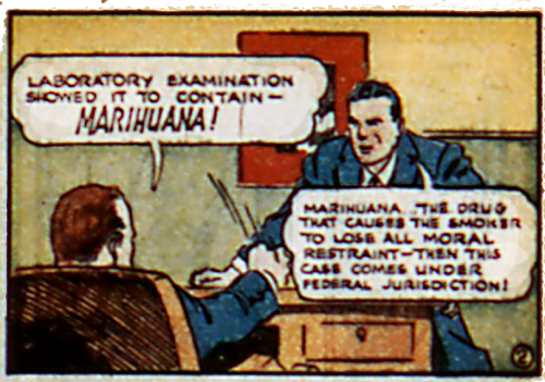 "comicallyvintage:  Great advertising slogans of the 20th Century: ""Marihuana - The Drug That Causes The Smoker To Lose All Moral Restraint""  funny"