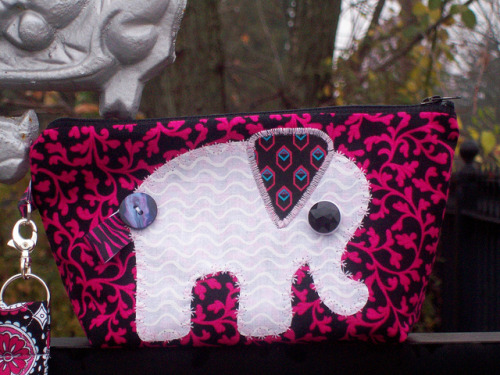 White Elephant Zippy Pouch (by marymoondesigns)