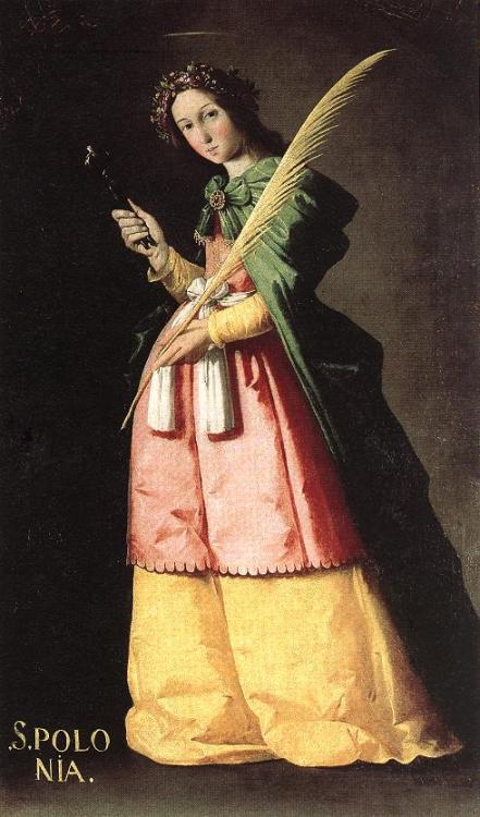 "Francisco de Zurbarán (1598-1664), Saint Apollonia, Louvre Today, I am going with my friends Nadia and Julianna to see an exhibition of the great Spanish couturier Cristobal Balenciaga's work at the Queen Sofia Spanish Institute in New York City. For the occasion, I thought I'd post one of the Spanish paintings I saw when I went to the Louvre this summer. This painting by Francisco de Zurbarán—known as the Spanish Caravaggio—caught my eye because of the subject's gorgeous, brightly colored, full-skirted taffeta gown and velvet cloak. The outfit, indeed, looks very Balenciaga, who drew heavily on his Spanish heritage for his rather radical designs. The green-and-carnation-pink color combination recalls a recent ballgown from Oscar de la Renta, which he designed as an homage to the great couturier. De Zurbarán's bright colors belie the painting's more sinister details: His portrayal of Saint Apollonia includes, as the Louvre states, ""the instrument of  her torture."" The saint clutches a tooth  gripped by a pair of pliers in her right hand—eek."