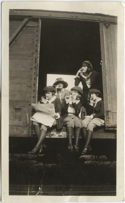 Smoking Girls on a Train Car,1920s from Atypical Art