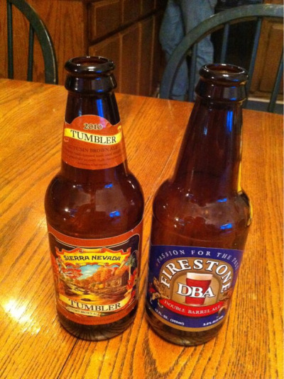 Thanksgiving beers purchased at a 76 Station in Buellton, CA on the way to my sister's house in Paso Robles. Sierra Nevada Tumbler (ha) Autumn Brown Ale (5.5%abv) and Firestone Double Barrel Ale (5%abv). They're basically the same, but the Firestone DBA is less hoppy, making it my preference.