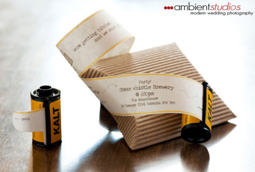fortheloveofweddings:  film canister wedding invitations - so cool!