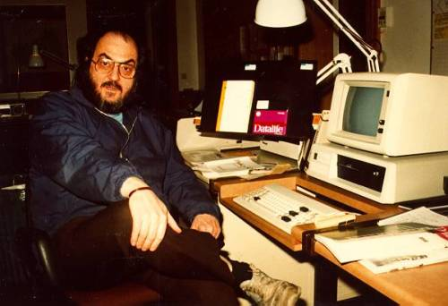 workspaces:  Stanley Kubrick at home with his computer | submitted by maxtomoon