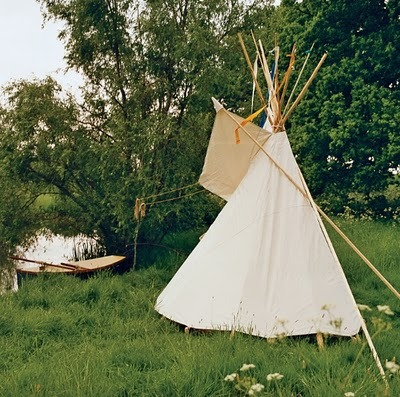stella mccartney's teepee at her country house in england. vogue spread, photo by bruce weber.