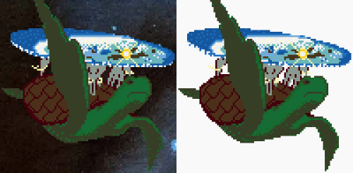 And a bigger version. The Great A'Tuin carrying the Discworld, pixel by pixel! 100 pixels wide, 98 pixels tall. Colours are taken from the Hama Beads colour chart. So if I ever get a load of them with some free time I can make it up.