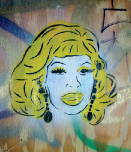 """New drag queen stencils from San Francisco street artist Jeremy Novy …  This project is intended to bring gay imagery into a homophobic subculture, covering hateful and distasteful graffiti in our communities. """