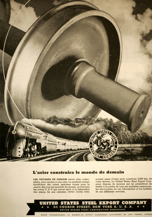 United States Steel ad in Victory magazine 1944. vol.2. no.3. (french edition)