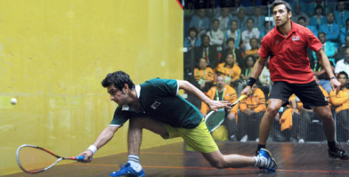 Pakistani Squash players Farhan and Aamir were very eager to keep the legacy of Hashim Khan, Azam Khan, Roshan Khan, Mo Khan, Qamar Zaman, Jahangir Khan, and Jansher Khan by winning the Gold. Bravo to the Green Shirt Squash players! Previously in sports; Women Cricket and Field Hockey. News item here.