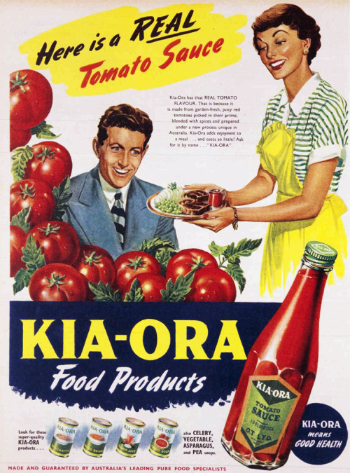 Here is a REAL Tomato Sauce! From Kia-Ora. Serve it to your husband with two t-bone steaks, peas, and what looks like an entire sliced parsnip. (Tomato sauce is a bit like ketchup but with less vinegar and more sugar.)