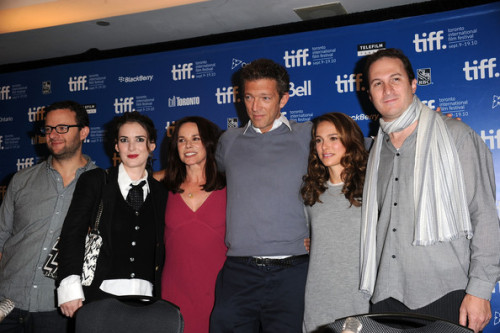 "Writer Mark Heyman, actress Winona Ryder, actress Barbara Hershey, actor  Vincent Cassel, actress Natalie Portman and director Darren Aronofsky  speaks at ""Black Swan"" press conference during the 2010 Toronto  International Film Festival at the Hyatt Regency on September 14, 2010  in Toronto, Canada."