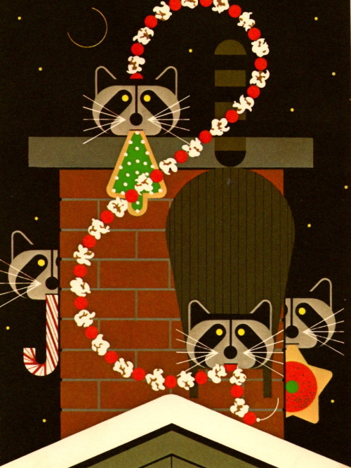 "hanracecarnah:  ""The Christmas Caper""By Charley Harper1976 Backside:It's the night before Christmas and from up on the rooftop you hear such  a clatter that you spring from your bed to see what's the matter. You  were expecting maybe Claus? It's paws—a pack of raccs fleeing the flue,  decking the haul from an untimely un-trim the tree party as the baddies  get the goodies. But don't begrudge them their sooty booty. it's the  season for forgiving and for giving. So open your heart—and your hearth. - Charley HarperI have waited months to post this…it is time."