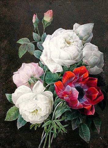 stilllifequickheart:  Pierre Redouté Still Life with Roses and an Anemone 1832