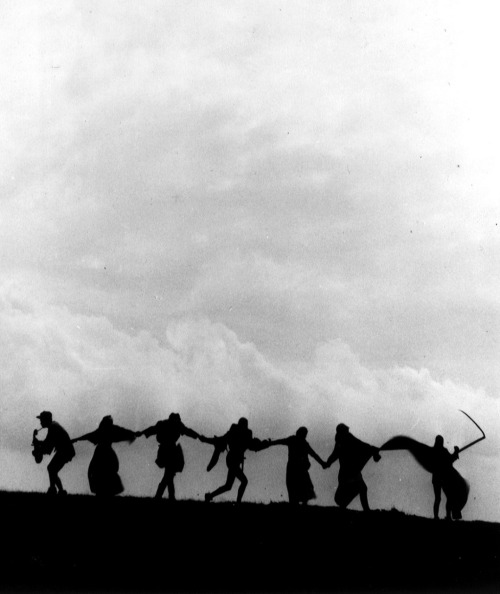 "via The Seventh Seal (1957, dir. Ingmar Bergman) ""The final scene when Death dances off with the travelers was, as I said, shot at Hovs Hallar. We had packed up for the day because of an approaching storm. Suddenly, I caught sight of a strange cloud. [Cinematographer] Gunnar Fischer hastily set the camera back into place. Several of the actors had already returned to where we were staying, so a few grips and a couple of tourists danced in their place, having no idea what it was all about. The image that later became famous of the Dance of Death beneath the dark cloud was improvised in only a few minutes.  That's how things can happen on the set. We made the film in thirty-five days.""  –Ingmar Bergman, Images: My Life in Films"