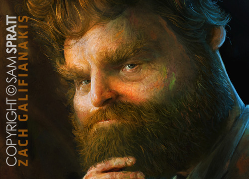 Sam does great work! Be sure to follow him!  samspratt:  Zach Galifianakis Portrait Close Up