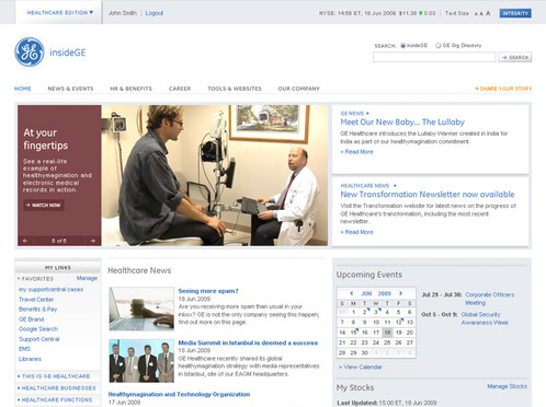 2009 GE Intranet Redesign GE's Intranet serves over 300,000 employees and is responsible for everything from HR and benefits to industry news and corporate communications. So how to redesign an experience so crucial to a global organization? Start with research. We talked to employees from across the organization, visited competing organizations to experience their Intranets and surveyed over 10,000 employees to gain an understanding of what they needed to perform their jobs effectively. We then took these insights back to the studio and imagined what could be. The resulting Intranet experience is dynamic, visual and reactive to employee needs while conveying a singular GE brand experience. We won awards from Nielsen Norman and the Web Marketing Association, and in the process rediscovered what an Intranet could do: foster collaboration and bring employees from across the globe a little closer together.  Responsible for research, insights generation and ongoing analytics.