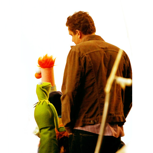 Jason Segel, Kermit the Frog and Beaker filming the next Muppet movie. The five year old in me just exploded into sheer happy.