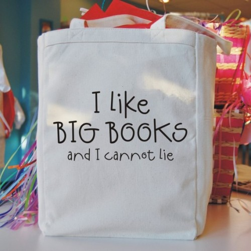 "justabookclub:  Another tote, that the inner book-nerd in me could not pass up. ""i like big books canvas tote bag"" by Bookfiend"