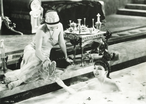 "Claudette Colbert takes a milk bath in Cecil B. DeMille's ""Sign of the Cross"" 1932"
