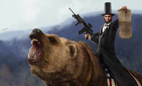 Abe Lincoln, The Emancipator, is riding in on his faithful Grizzly to kick some serious ass!Click the image to see the great detail that Jason Heuser put into this piece. History meets up with Call of Duty and Cabela's Dangerous Hunts! Related Rampage: Drunk Raphael Abe Lincoln Riding a Grizzlyby          Jason Heuser / SharpWriter (CGHUB)