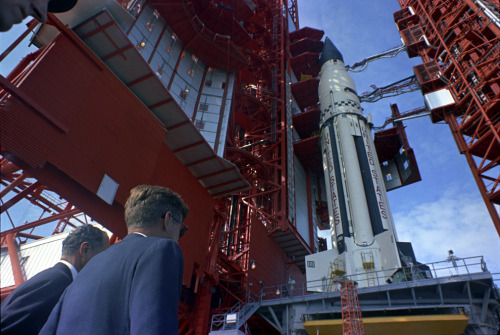 Florida Senator George Smathers and President John F. Kennedy at NASA's Cape Canaveral, Pad B, Complex 37, where they were briefed on the Saturn rocket by Dr. Werner Von Braun (not pictured) on November 16th, 1963.
