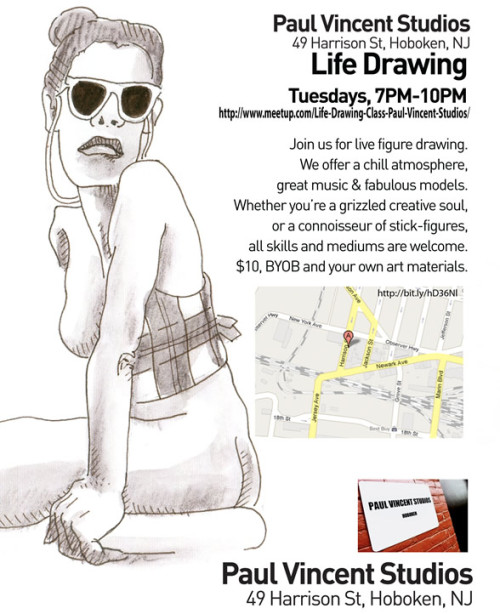 Life Drawing, Tuesdays, 7-10PM Join us for live figure drawing. We offer a chill atmosphere, great music & fabulous models. Whether you're a grizzled creative soul, or a connoisseur of stick-figures, all skills and mediums are welcome. $10, BYOB and your own art materials. Paul Vincent Studios49 Harrison St, Hoboken, NJ Find it on Google Maps Join the Meetup Group