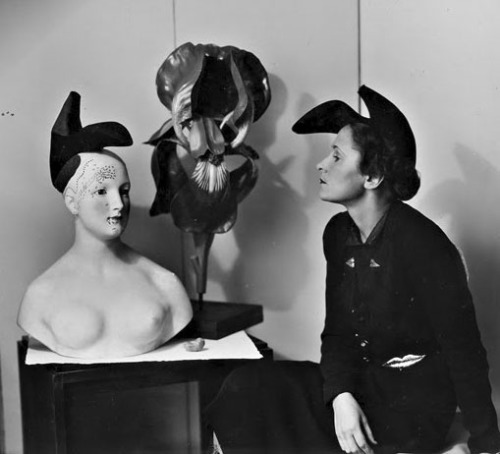 Shoe Hat, winter 1937-38 Elsa Schiaparelli in collaboration with Salvador Dali  [worn by Gala and Dali's Retrospective Bust of a Woman/present state] via Booze & Yarn
