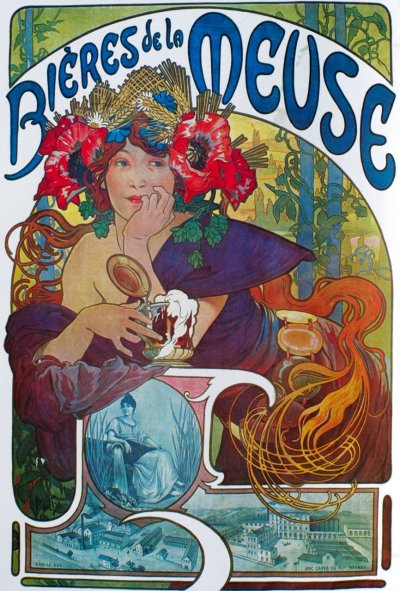 "thewidowflannigan:  ""Bieres de la Meuse"" poster by Alphonse Mucha. Am mildly obsessed with poppies in Art Nouveau at the moment. And obsessed with Mucha always."