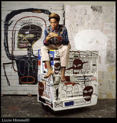 Jean-Michel Basquiat in his studio