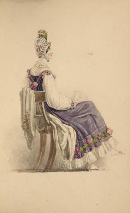 antiquememes:   Image ID: 1111695 [Purple dress with flowers.] (1816)