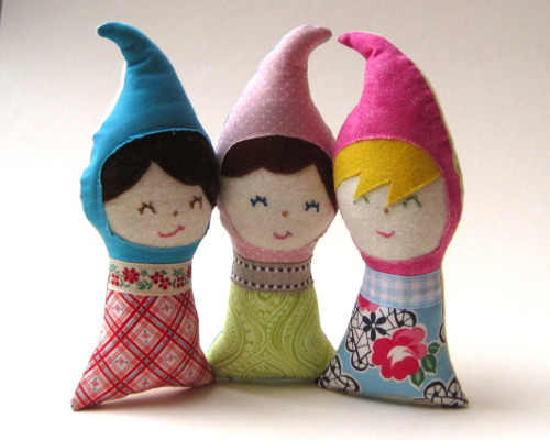 Upcycled gnome dolls by SewnNatural. We make these with organic, midcentury vintage + cotton fabric scraps from other projects in our shop. With hand embroidered faces. On pre-holiday sale.