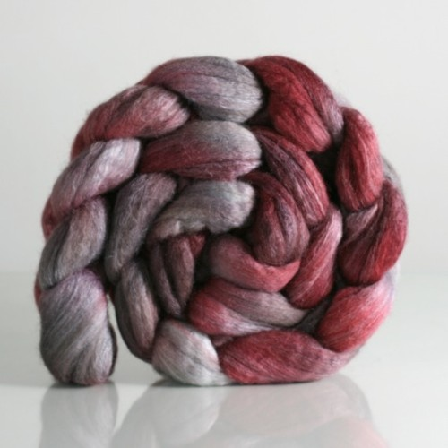 Crushed BFL/TUSSAH SILK 75/25 Handpainted Combed Top by fiberstory