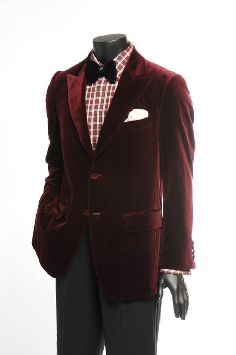 Burgundy peak lapel velvet dinner jacket Macko helped Ascot Chang create. Had a hands-on today at their store in Prince's Building and AC carries a very impressive collection.