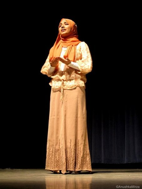 """Hijabi Monologues"" founder Sahar Ullah in not so identifiably provincial in her peachy earth tones and peasant blouse."