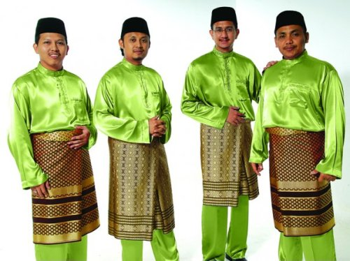 Members of the Malaysian singing group Hijjaz wear traditional Malay dress for  men: a baju melayu and songket. This handsome garb is worn for many special occasions; however, while the bright fluorescent green color is optional, it offers some additional Muslim pizzazz.
