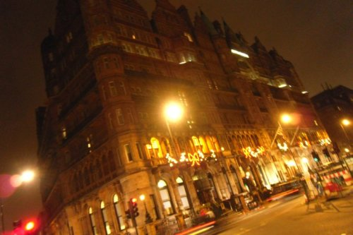 Hotel in Russel Sq. It was 11.30pm and the lights lit the cold night =]