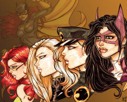 discowing:  Birds of Prey Roster by *Crimsonsea on deviantART   I love that Huntress eyes are brown. It's shallow and unimportant, but I do.  This is quite lovely!