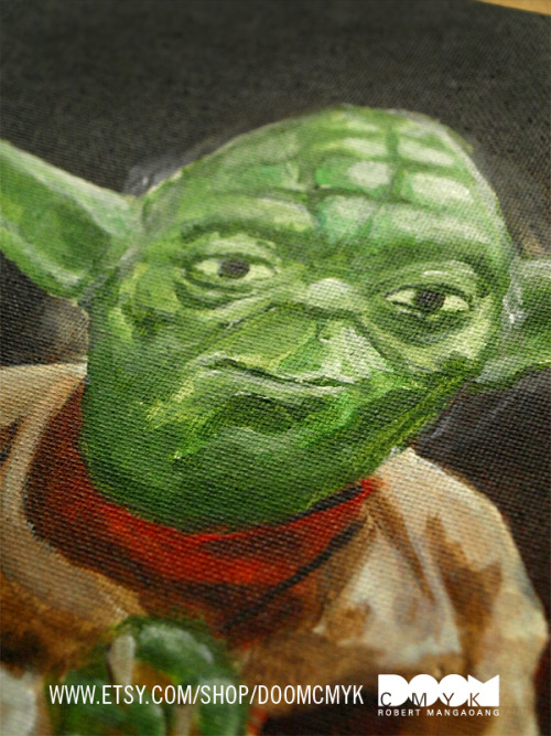 A closeup of my Yoda Painting. Made with Acrylic paint on canvas board. Item available at my Etsy: http://www.etsy.com/shop/doomcmyk