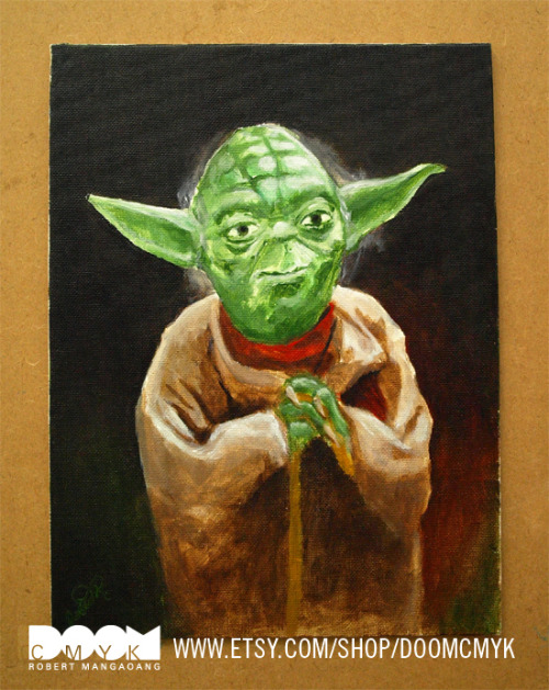 My Yoda Painting made with Acrylic paint on canvas board. Item available at my Etsy: http://www.etsy.com/shop/doomcmyk