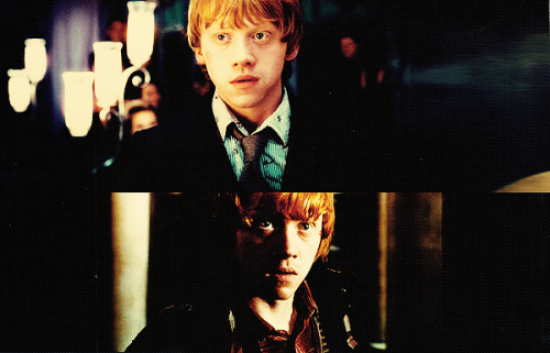 bellatrixblack-:  Of the three Potter heroes, ginger-haired Ron emerges in Part I as the most vulnerable and human. All praise then to Rupert Grint, who has grown so much into the part over the years. In the scene in which Ron imagines that he sees his beloved Hermoine in a nude embrace with Harry, Grint plays it for real and exposes Ron's jealous and breaking heart. He's the emotional core of the movie. Rolling Stone's: THE TEN BEST CHARACTERS IN 'HARRY POTTER AND THE DEATHLY HALLOWS, PART I'